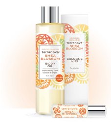 Terranova's Shea Blossom Collection has a spicy/citrus scent indicated by it's yellow /orange colors.
